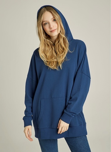 NGSTYLE Oversize Kapüşonlu Sweatshirt Mavi